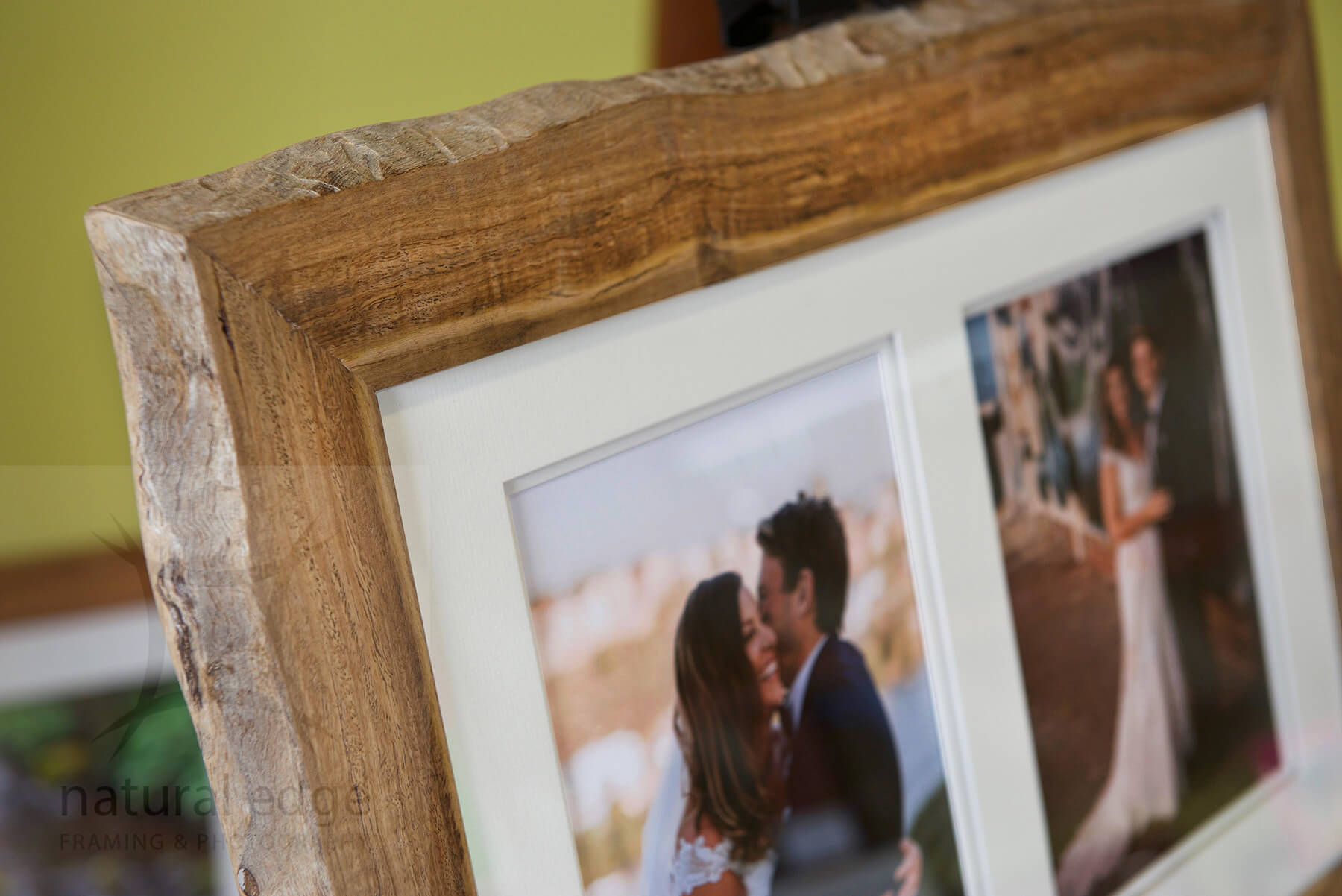 Two images of a wedding couple framed in a single Marri red gum bark edge timber frame made by Natural Edge Framing and Photography.