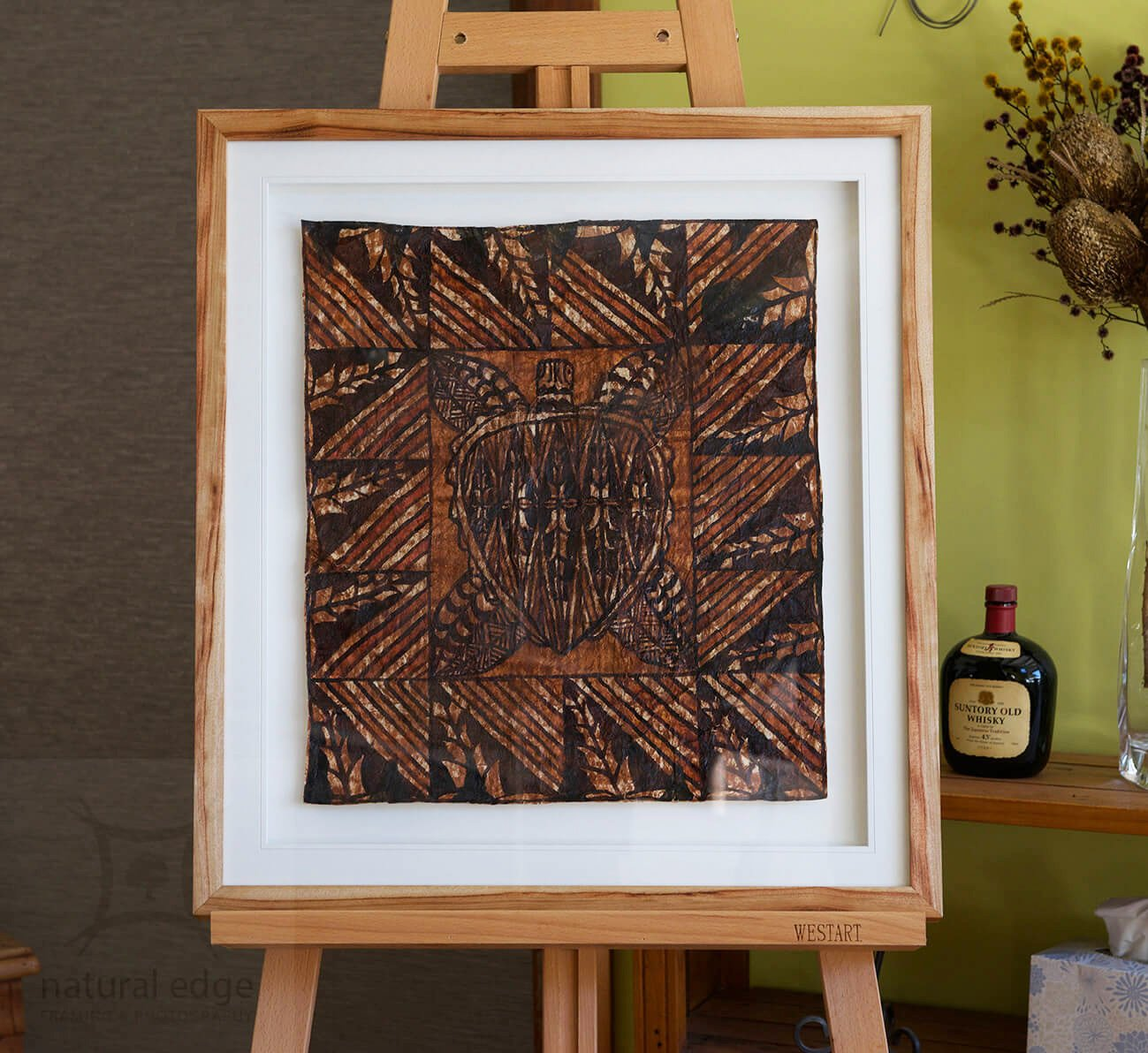 indigenous-turtle-art-on-bark-framed-as-a-floating-piece-in-a-straight-edge-camphor-laurel-frame
