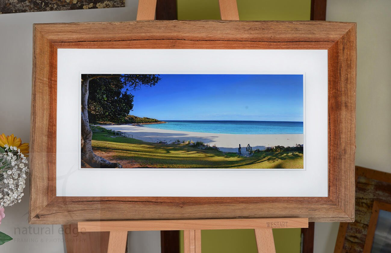 photo-of-meelup-beach-looking-out-to-sea-framed-in-bark-edge-karri-sitting-on-an-easle-natural-edge-framing-and-photography-marketplace